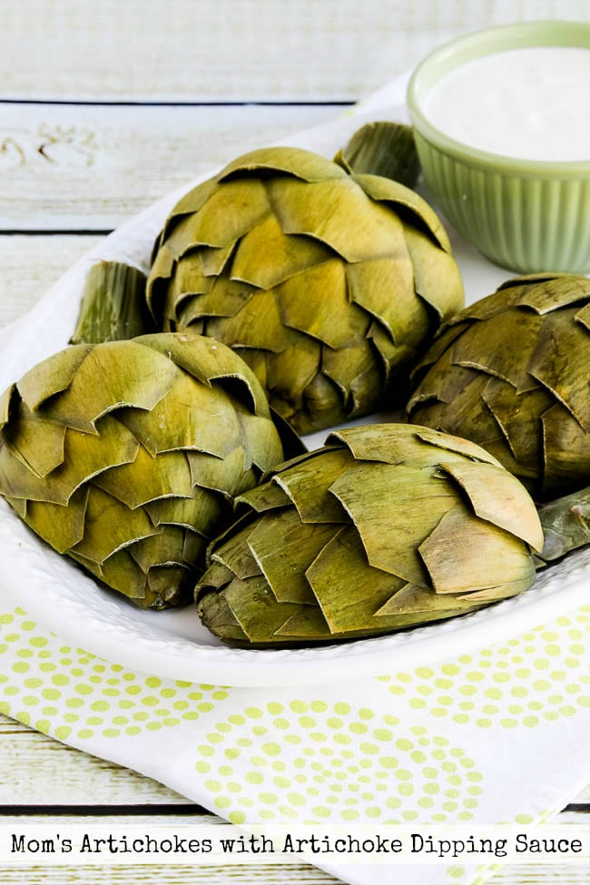 Top Photo for Mom's Artichokes and Artichoke Dipping Sauce found on KalynsKitchen.com