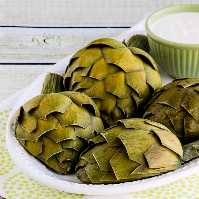 Mom's Artichokes and Artichoke Dipping Sauce found on KalynsKitchen.com