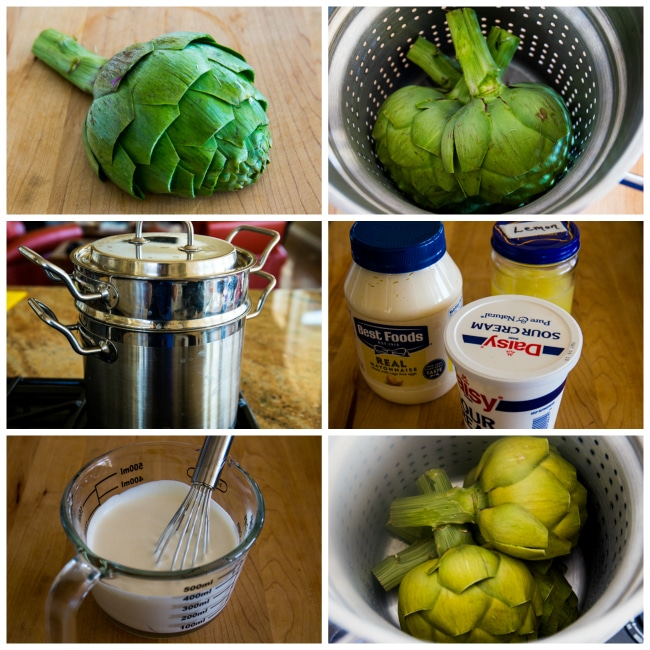 Cooking Artichokes and making dipping sauce on KalynsKitchen.com