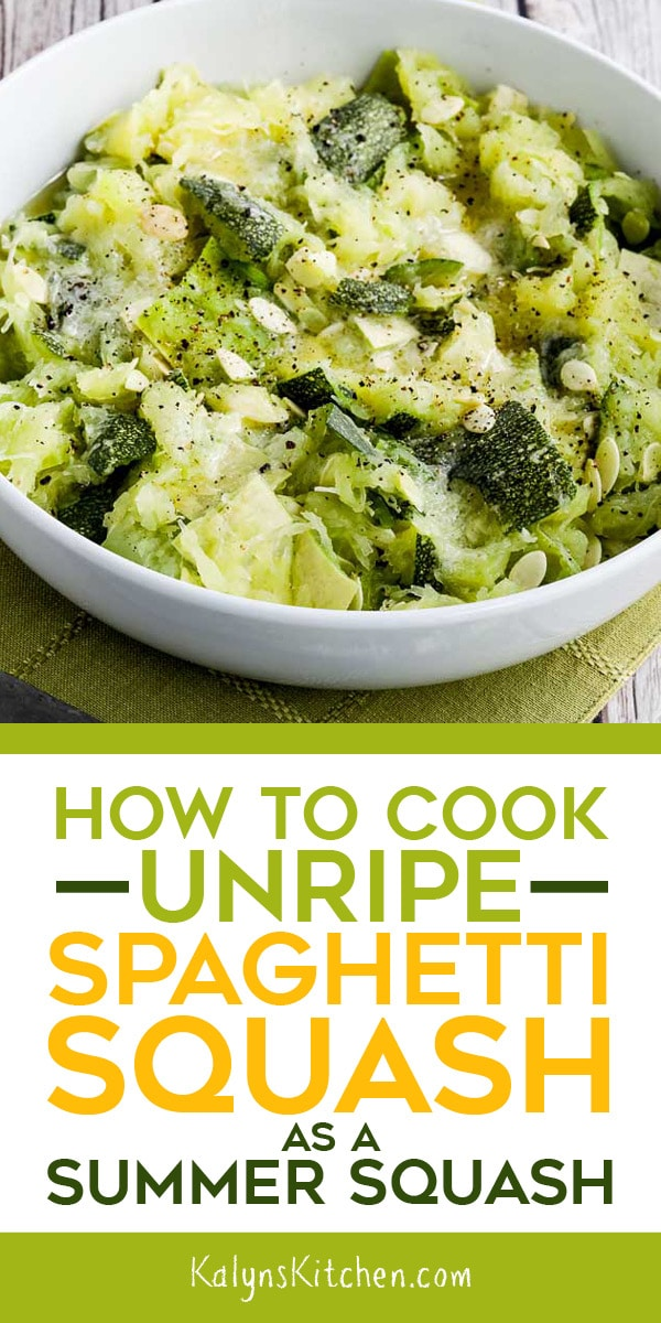 Pinterest image for How to Cook Unripe Spaghetti Squash as a Summer Squash
