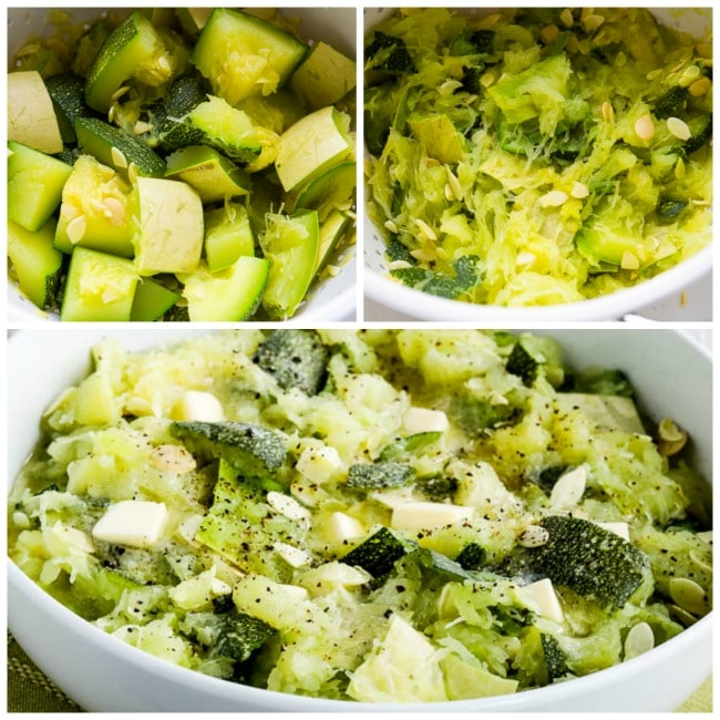 Second process collage for How to Cook Unripe Spaghetti Squash as a Summer Squash