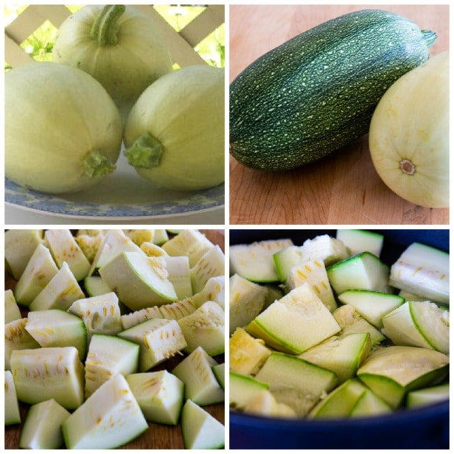 First process collage for How to Cook Unripe Spaghetti Squash as a Summer Squash