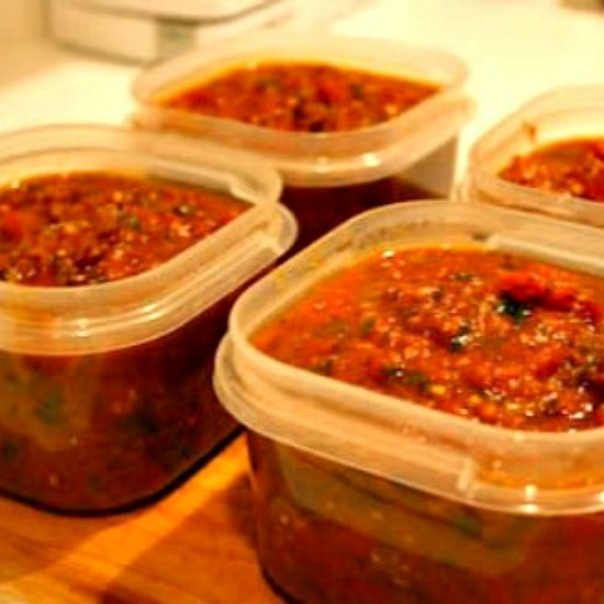 Sausage and Basil Marinara Sauce for the Freezer, Made with Fresh Tomatoes from KalynsKitchen.com
