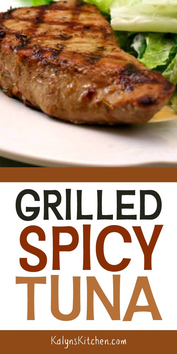 Pinterest image of Grilled Spicy Tuna