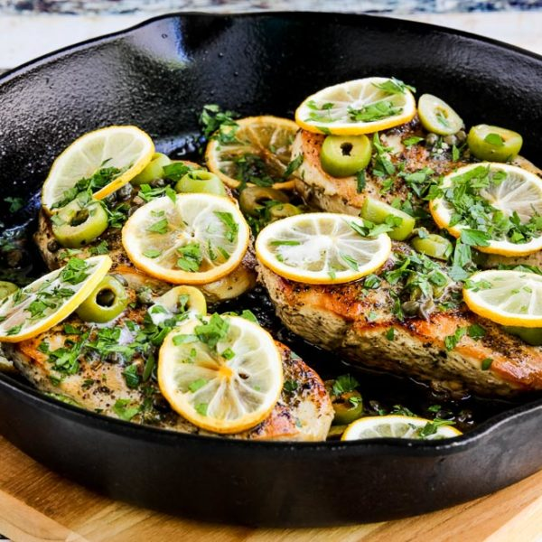 Low-Carb Skillet Chicken with Roasted Lemons, Green Olives, and Capers found on KalynsKitchen.com