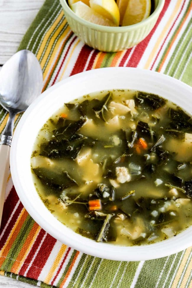 Low-Carb Chicken Soup with Collards and Lemon