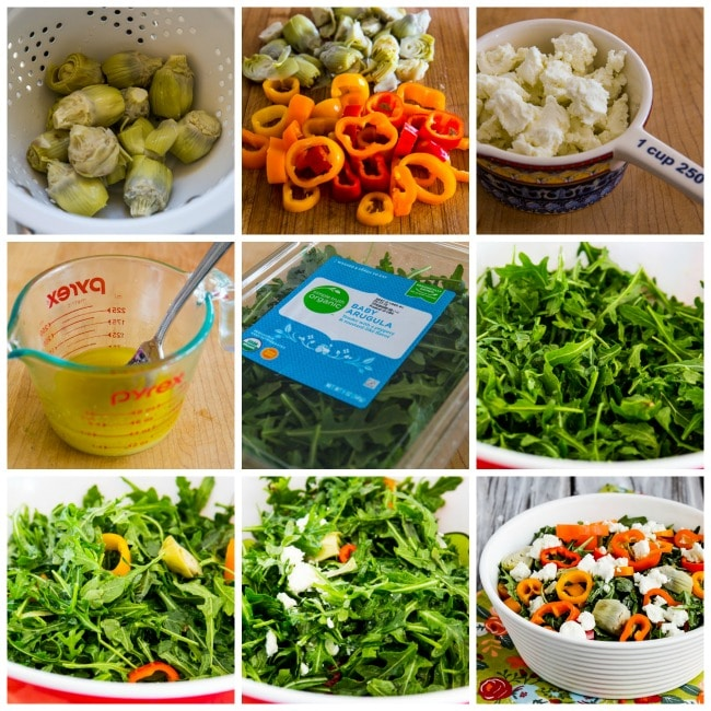 Step-by-step collage for Low-Carb Arugula Salad with Artichokes, Peppers, and Goat Cheese