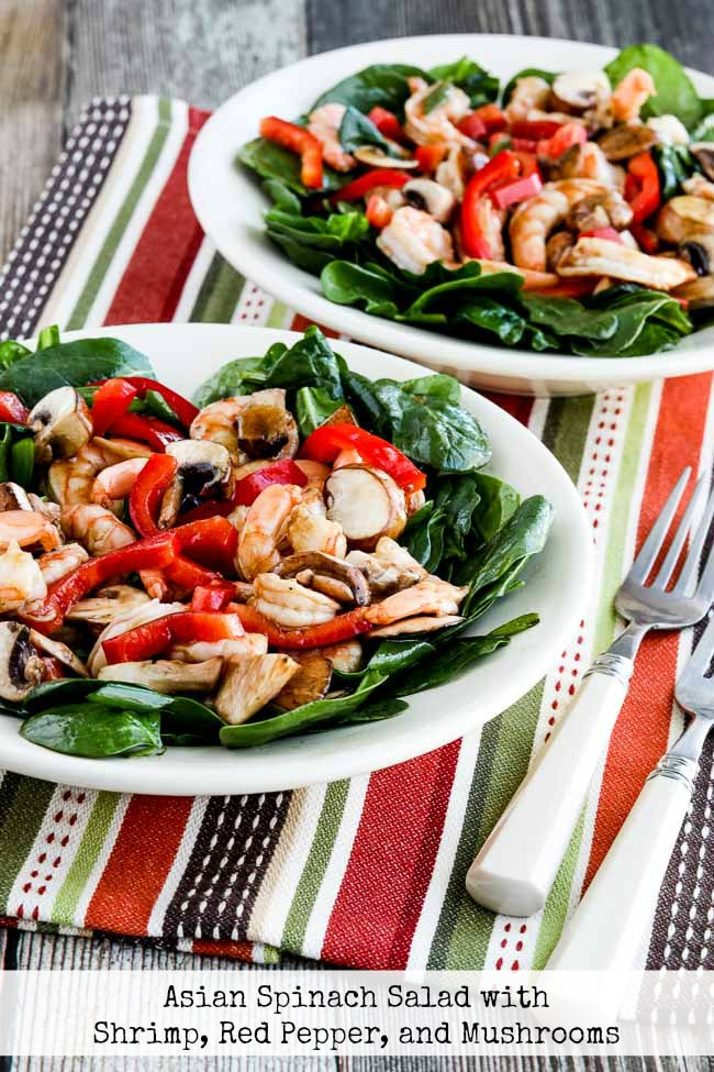 Title photo for Asian Spinach Salad with Shrimp, Red Pepper, and Mushrooms