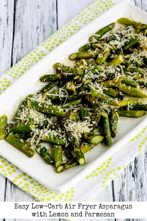 Easy Low-Carb Air Fryer Asparagus with Lemon and Parmesan found on KalynsKitchen.com