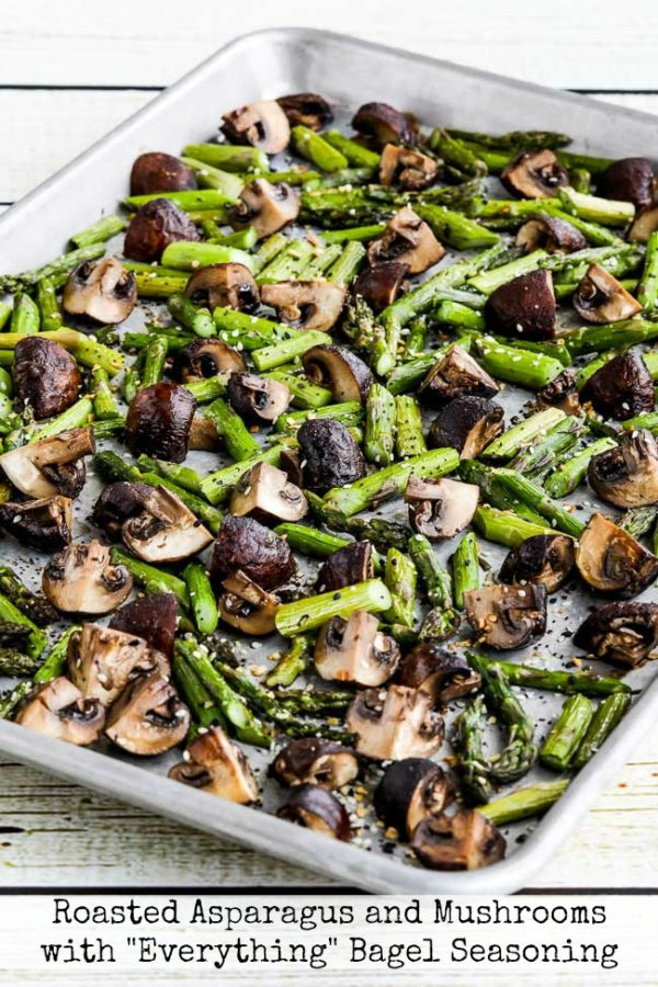 """Roasted Asparagus and Mushrooms with """"Everything"""" Bagel Seasoning found on KalynsKitchen.com"""