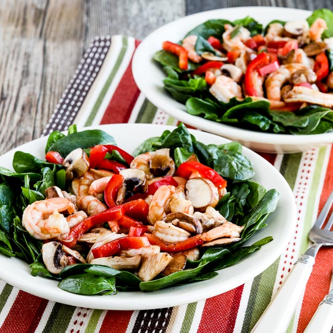 Thumbnail photo for Asian Spinach Salad with Shrimp, Red Pepper, and Mushrooms