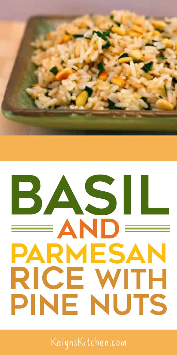 Pinterest image of Basil and Parmesan Rice with Pine Nuts