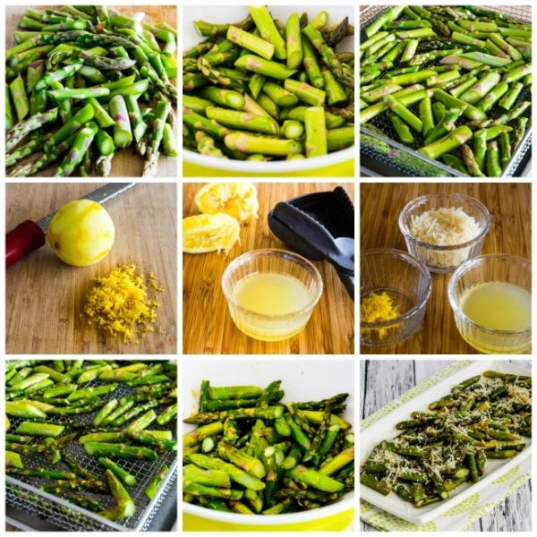 Process photos collage for air fryer asparagus