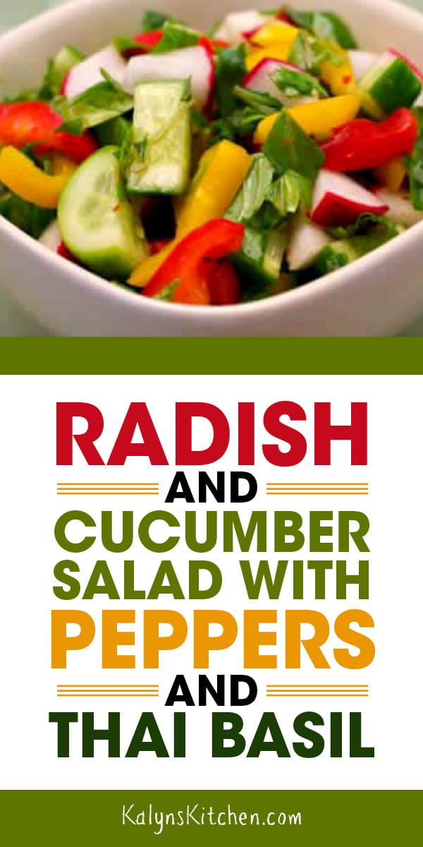 Pinterest image of Radish and Cucumber Salad with Peppers and Thai Basil