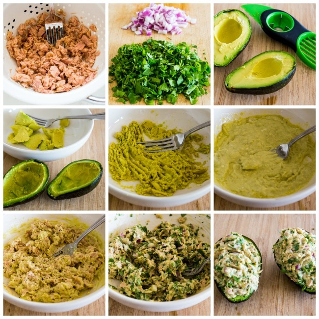 Process photos for Tuna Stuffed Avocado with Cilantro and Lime
