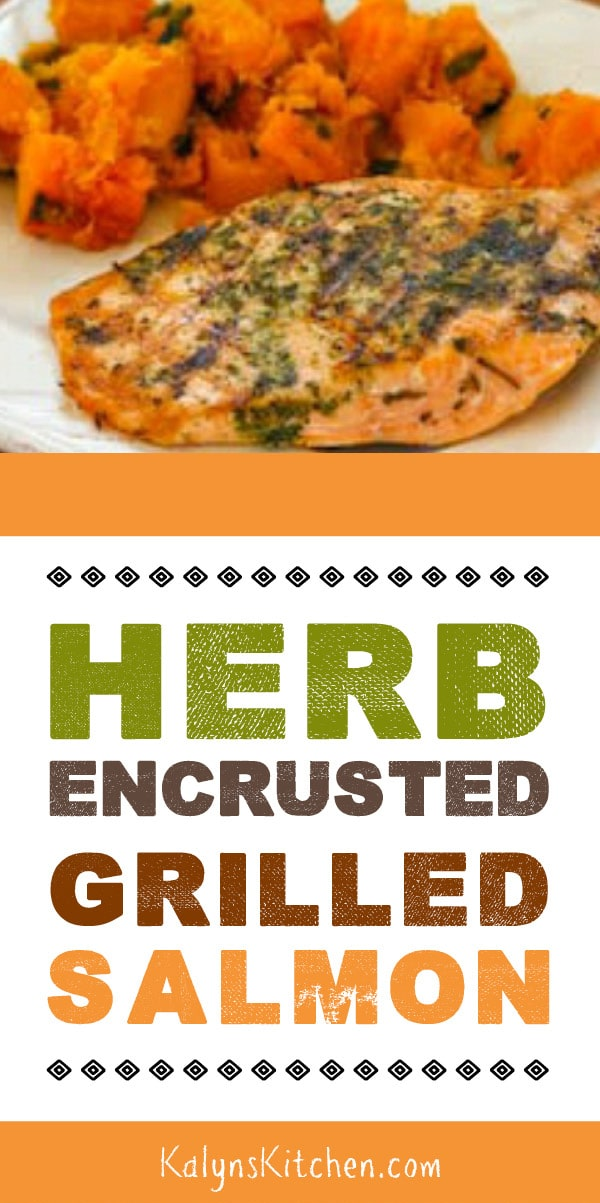 Pinterest image of Herb-Encrusted Grilled Salmon