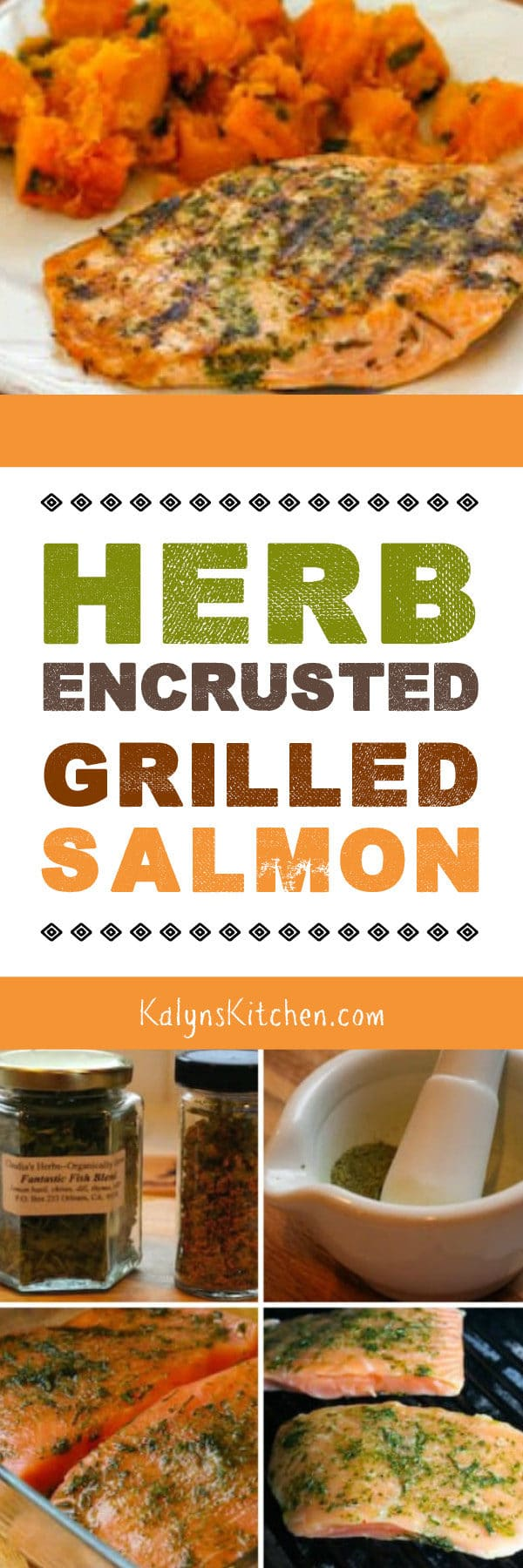 Herb-Encrusted Grilled Salmon found on KalynsKitchen.com
