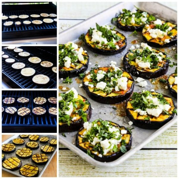 Grilled Eggplant with Garlic-Cumin Vinaigrette, Feta, and Herbs found on KalynsKitchen.com