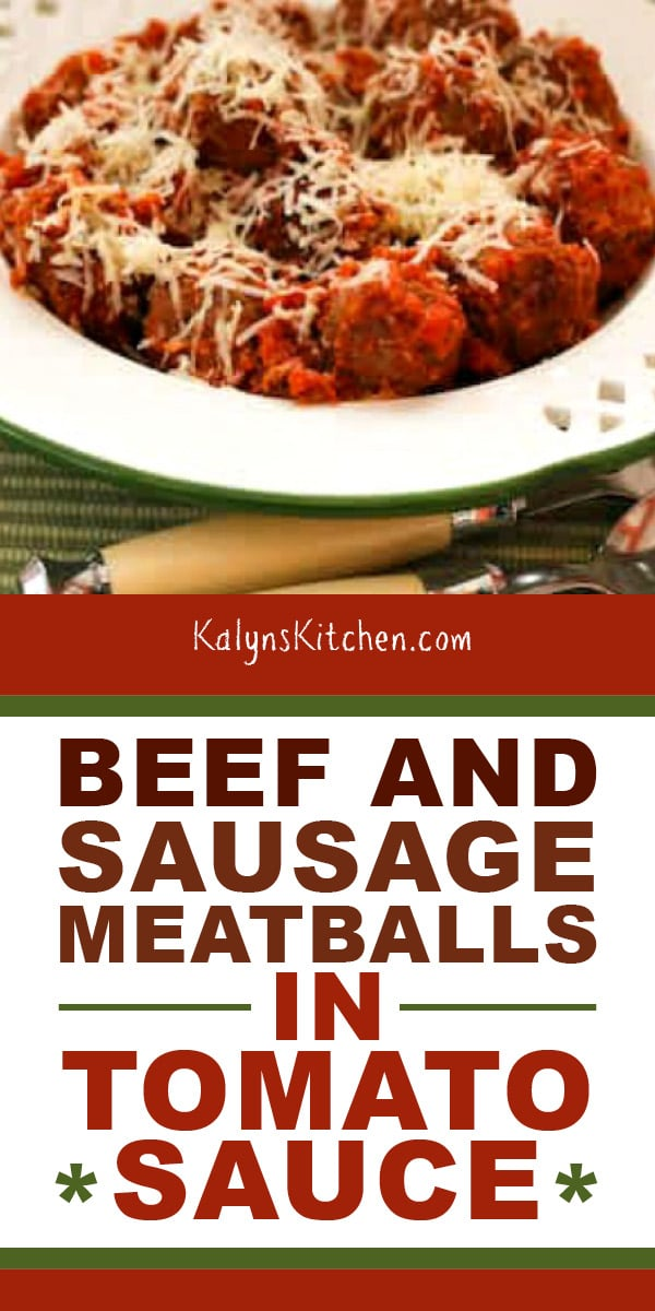 Pinterest image of Beef and Sausage Meatballs in Tomato Sauce