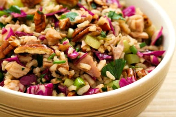 Brown Rice Salad with Chicken (or Turkey), Red Cabbage, and Pecans top photo