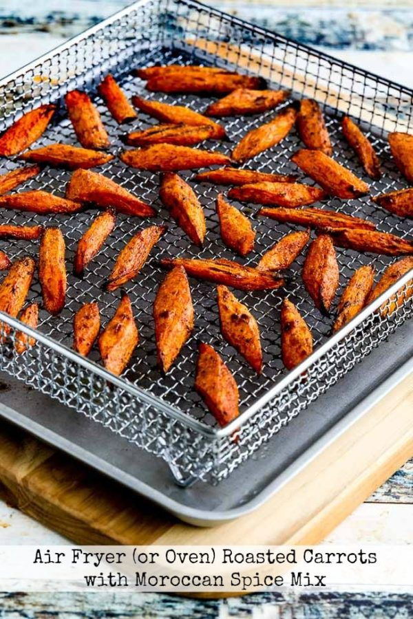 Air Fryer (or Oven) Roasted Carrots with Moroccan Spice Mix found on KalynsKitchen.com