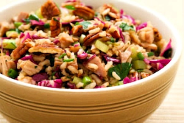 second photo for Brown Rice Salad with Chicken (or Turkey), Red Cabbage, and Pecans
