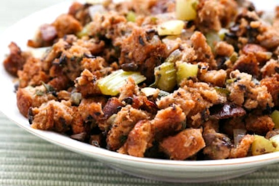 Whole Wheat and Mushroom Stuffing with Sage and Thyme found on KalynsKitchen.com