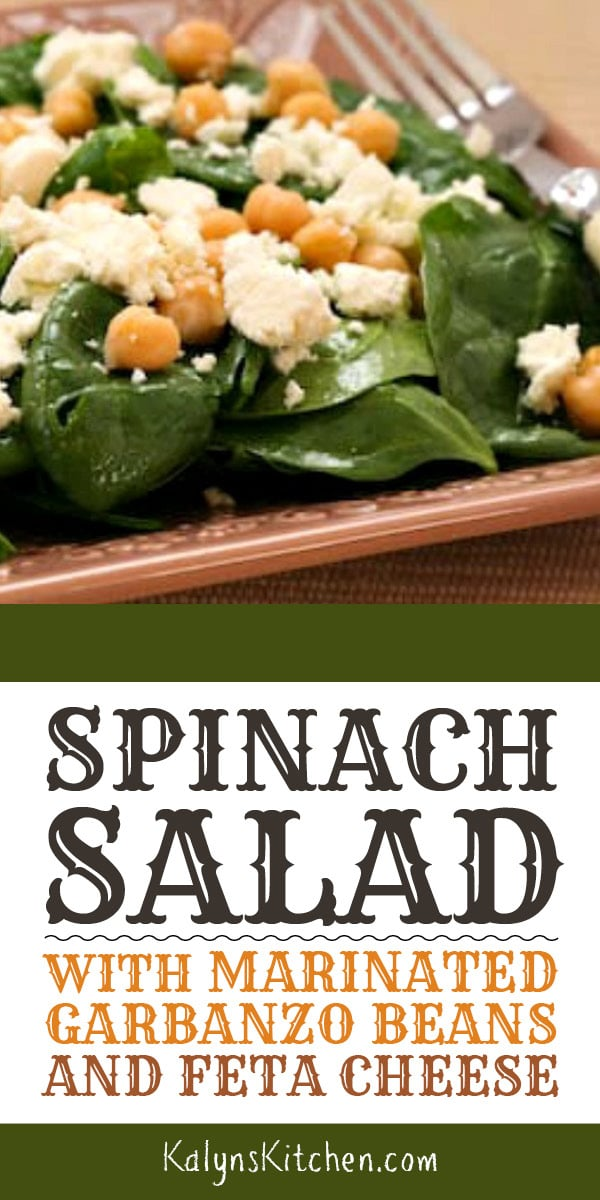 Pinterest image of Spinach Salad with Marinated Garbanzo Beans and Feta Cheese