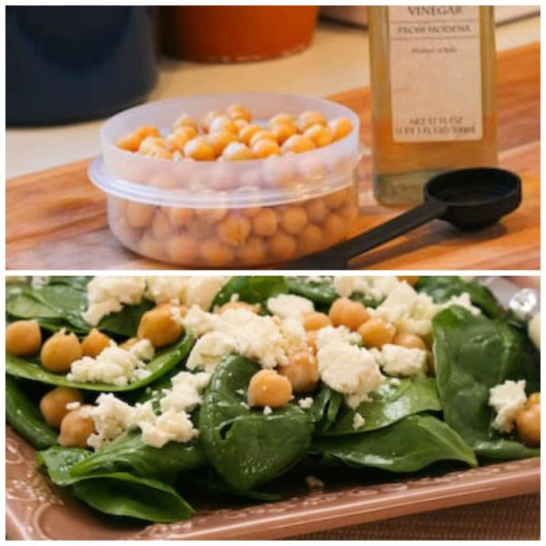 Spinach Salad with Marinated Garbanzo Beans and Feta Cheese found on KalynsKitchen.com