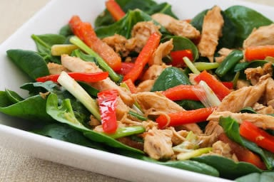 Spinach Salad with Chicken and Warm Ginger Vinaigrette