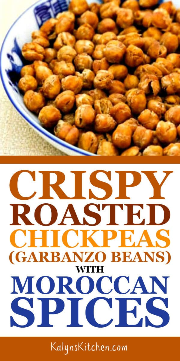 Crispy Roasted Chickpeas (Garbanzo Beans) with Moroccan Spices found on KalynsKitchen.com