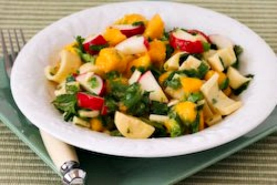 Mango Salad with Hearts of Palm, Radishes, Lime, and Cilantro found on KalynsKitchen.com