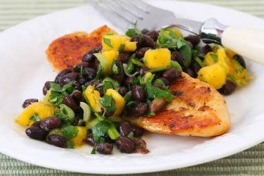Tilapia with Black Bean and Mango Salsa