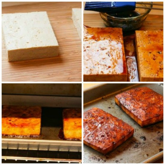 Easy Baked Tofu with Sesame and Soy Sauce process shots collage