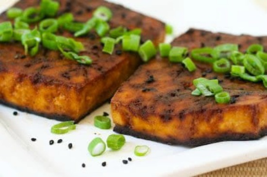 Easy Baked Tofu with Sesame and Soy Sauce found on KalynsKitchen.com