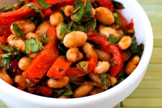 White Bean and Roasted Red Pepper Salad with Tomato-Basil Dressing