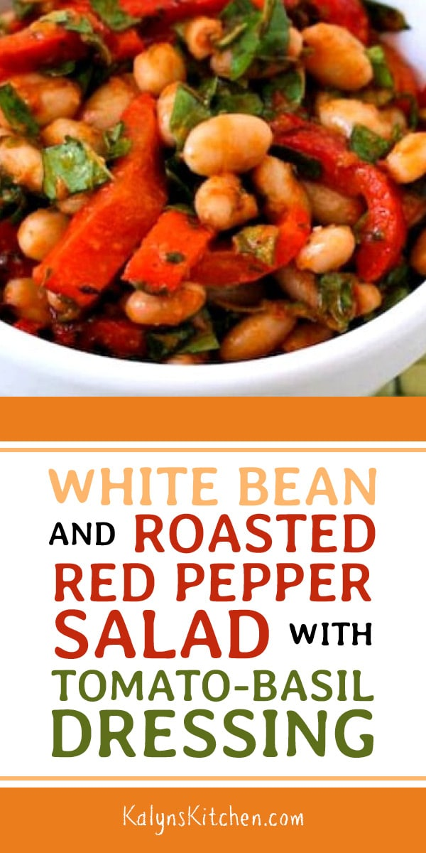 Pinterest image of White Bean and Roasted Red Pepper Salad with Tomato-Basil Dressing