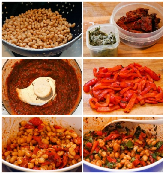Process photos for White Bean and Roasted Red Pepper Salad with Tomato-Basil Dressing