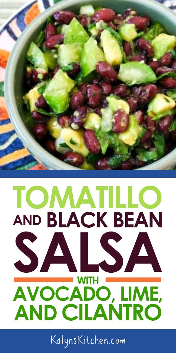 Pinterest image of Tomatillo and Black Bean Salsa with Avocado, Lime, and Cilantro