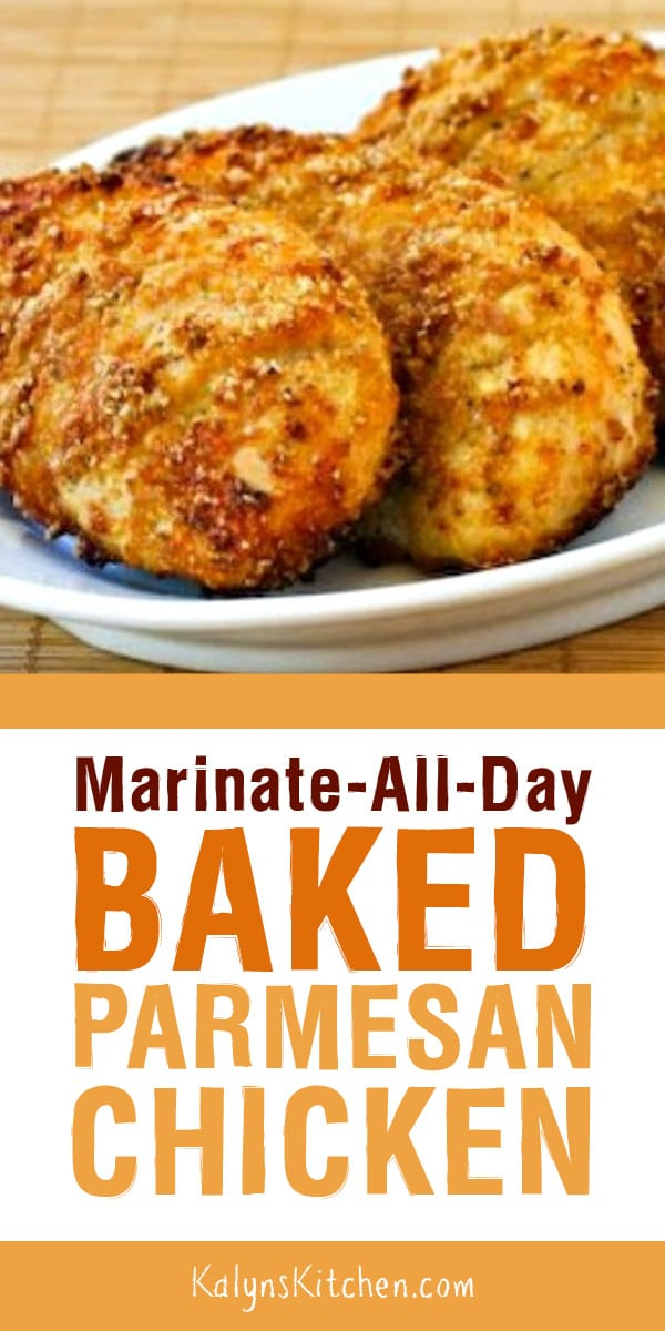Pinterest image of Marinate-All-Day BAKED PARMESAN CHICKEN