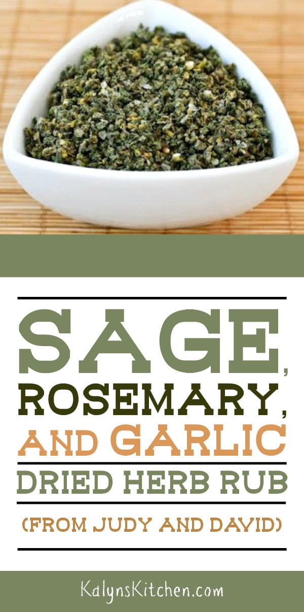 Pinterest image of Sage, Rosemary, and Garlic Dried Herb Rub (from Judy and David)