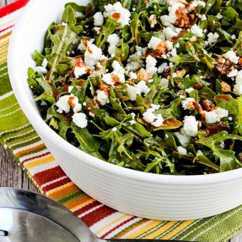 Arugula Salad with Feta and Fresh Tomato-Balsamic Vinaigrette found on KalynsKitchen.com