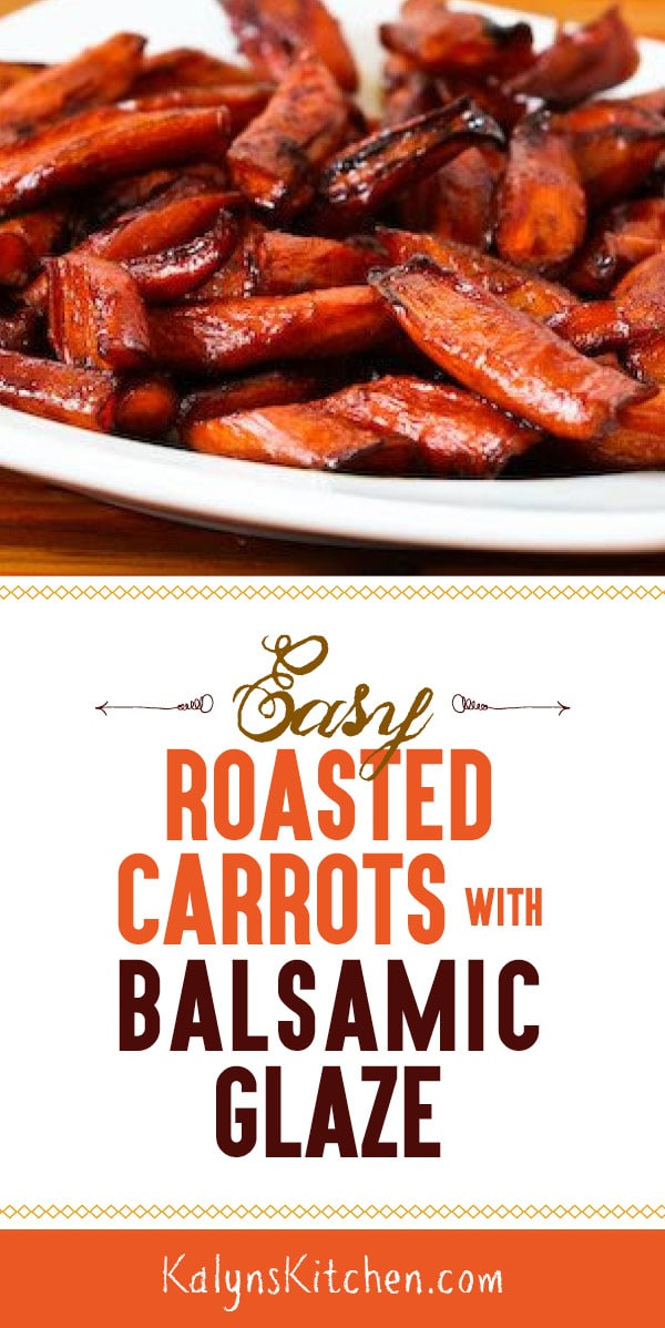 Pinterest image of Easy Roasted Carrots with Balsamic Glaze