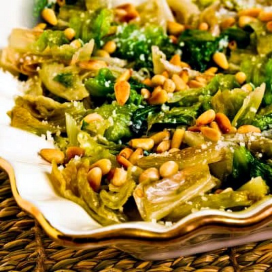 Sauteed Escarole with Parmesan and Toasted Pine Nuts found on KalynsKitchen.com