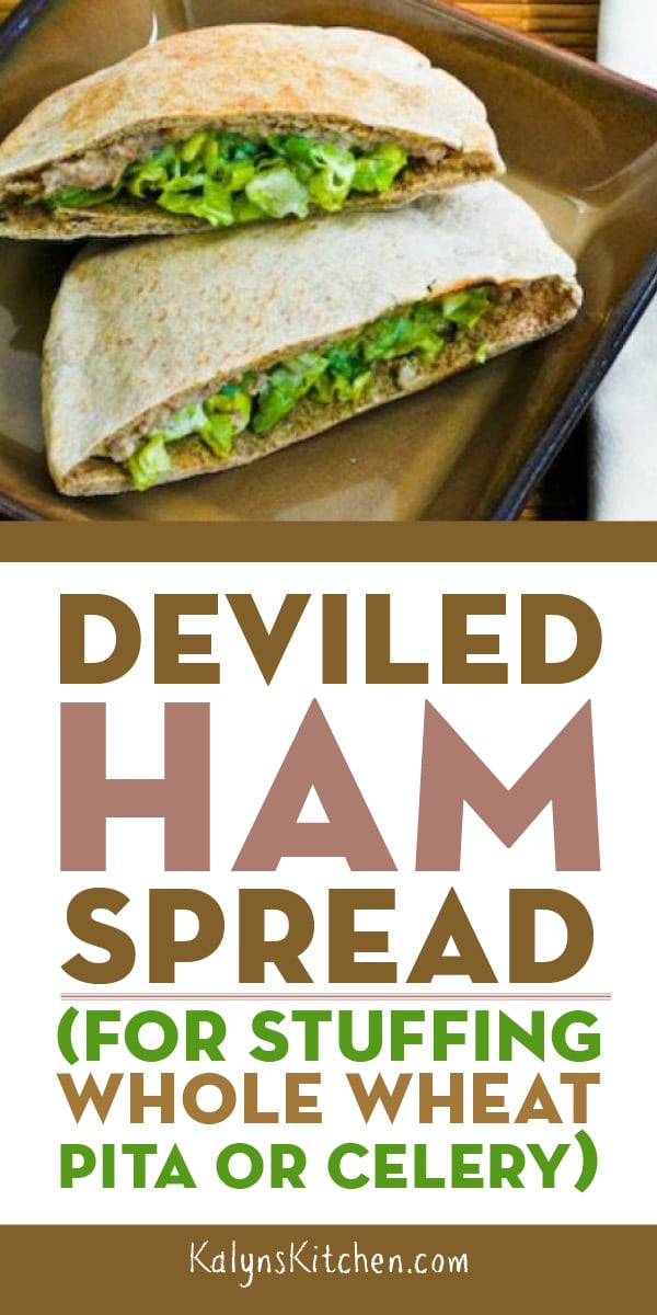 Pinterest image of Deviled Ham Spread (for Stuffing Whole Wheat Pita or Celery)