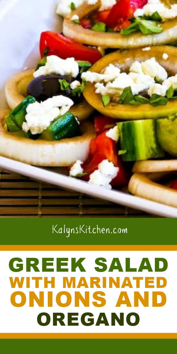 Pinterest image of Greek Salad with Marinated Onions and Oregano