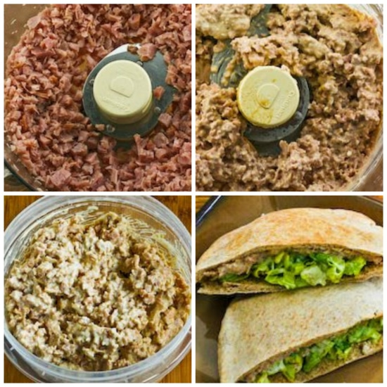 step-by-step-collage for Deviled Ham Spread (for Stuffing Whole Wheat Pita or Celery)