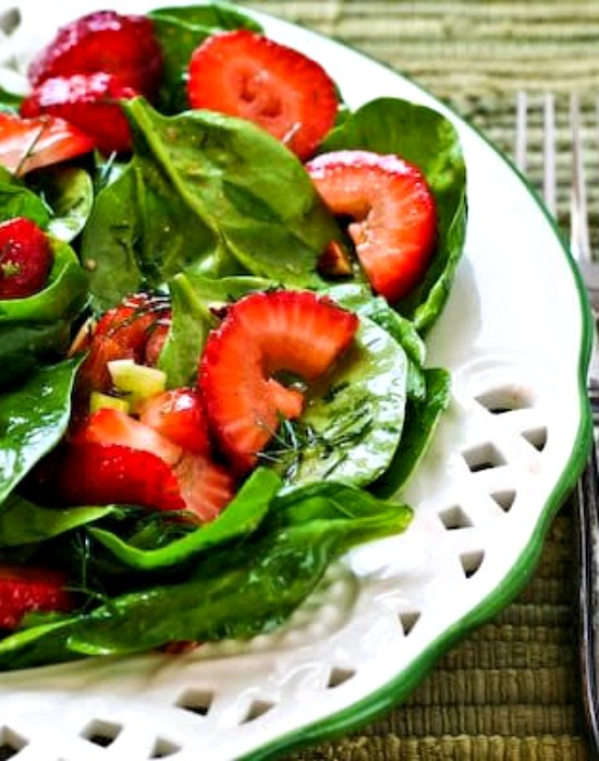 Strawberry Spinach Salad with Almonds and Dill found on KalynsKitchen.com