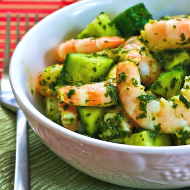 Spicy Shrimp and Cucumber Salad with Mint large thumbnail image of finished salad in bowl