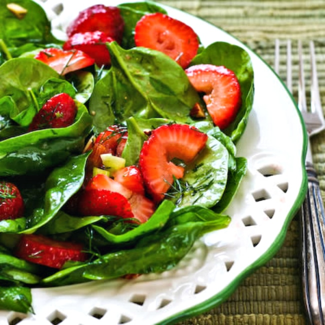 Strawberry Spinach Salad photo of finished salad on plate